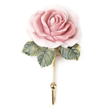 2 x Lovely Resin Coat Hat Robe Towel Hook Hanger Wall Mounted Rose Flower