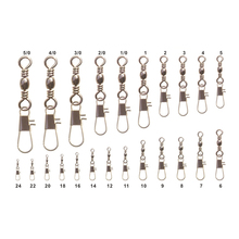 [1000PCS] Fishing Connector Barrel Crane Swivel with Snap Wholesale Terminal Tackle China Factory Cheap Price Size 1 2 2/0