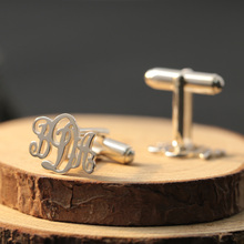 925 Sterling Silver Monogram Cuff Link Men Jewelry Personalized Cufflink with Monogrammed Letters Custom Father Gift(China)