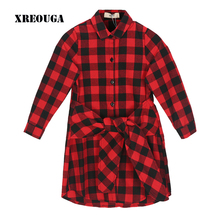 Children Girls Preppy Style Shirt Dress Bow Tie Scotland Vintage Black Plaid Dress Girl Kids Cute Long Sleeve Baby Dress ZZL46