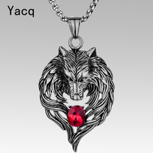 Wolf stainless steel necklace for men women 316L pendant W chain biker heavy jewelry animal charm wholesale dropshipping GN41(China)