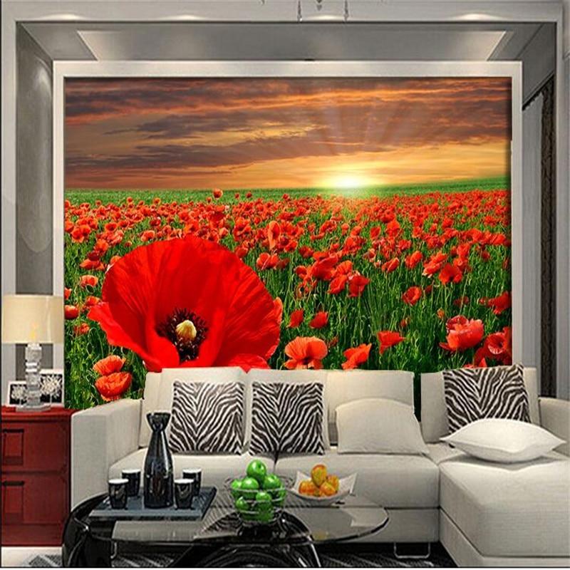 Custom photo wallpaper 3D Modern minimalist sofa backdrop beautiful poppy flower garden large mural 3d wall murals wallpaper<br><br>Aliexpress
