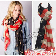DHL Free 50pcs American Flag Scarf Vintage 4th of July USA Flags Infinity Scarves Soft Shawls Hijab Girls Accessories A0408(China)