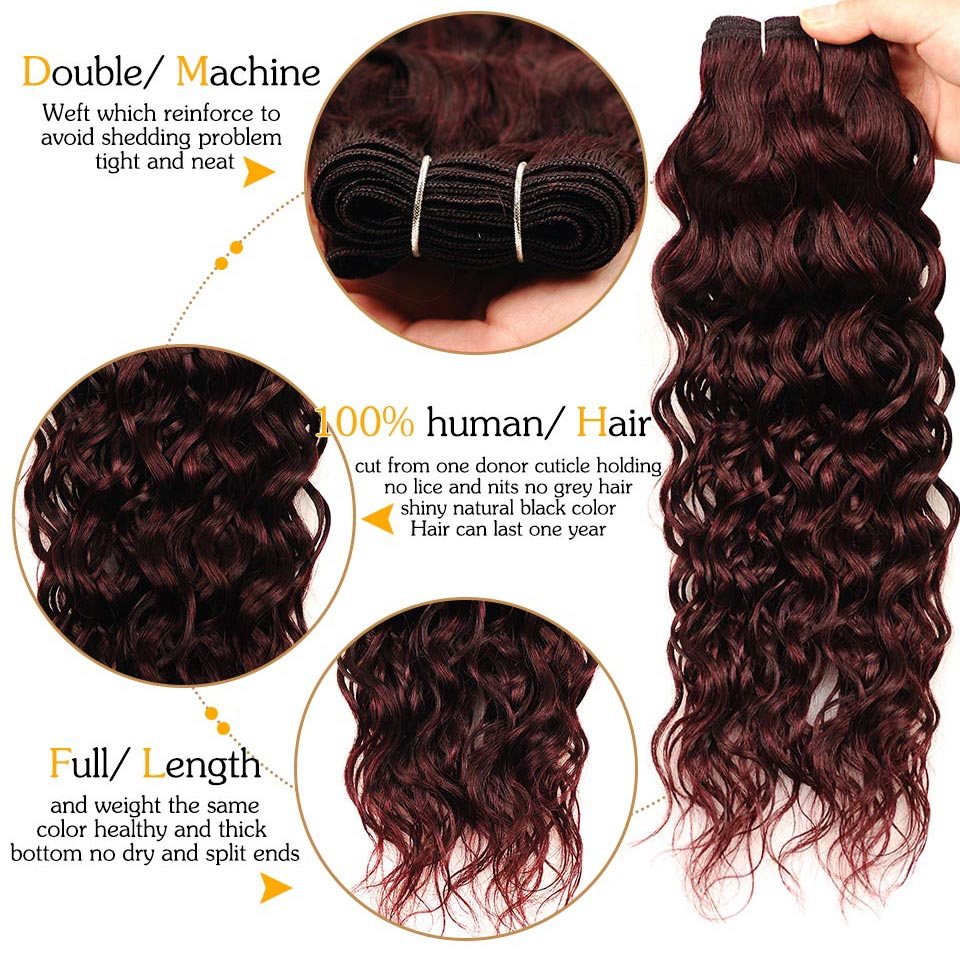 Brazilian Water Wave Hair Burgundy 4 Bundles With Closure Wet Wavy Pinshair Pre-Colored Dark Red Human Hair With Closure NonRemy (90)