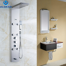 Ulgksd Thermostatic Bathroom Waterfall Rain 6 pcs Shower Column Jets Tub With Massage Shower Panel Tub Spout Hand Shower Set