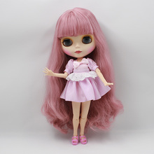 Free shipping factory blyth Doll 280BL1063 long Pink hair with Bangs/fringes Joint body bjd neo matte frosted face 1/6