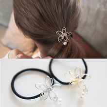 M MISM New Ponytail Hair Tolder Rhinestone Hollow Flower Hair Tie For Women Scrunchies Hair Accessories Elastic Hair Band(China)