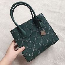 Leather Hollowed-out Rivet Rhombus Bag The Same Lock Head Bag Antique Hand Tote Bag(China)