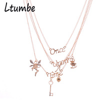 Ltumbe New Gold Color Multilayer Chain Necklaces Fairy Angel Key Letter Necklaces Pendants Lover Necklaces For Women Accessories(China)