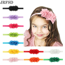 JRFSD Fashion Newborn Cute Kids Chiffon 3 Flower Headband Lace Headband Knitting Elastic Hair Band Hair Accessories