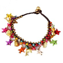 natural stone tassel Anklets fashion multicolor small bells Anklets for women boho summer jewelry