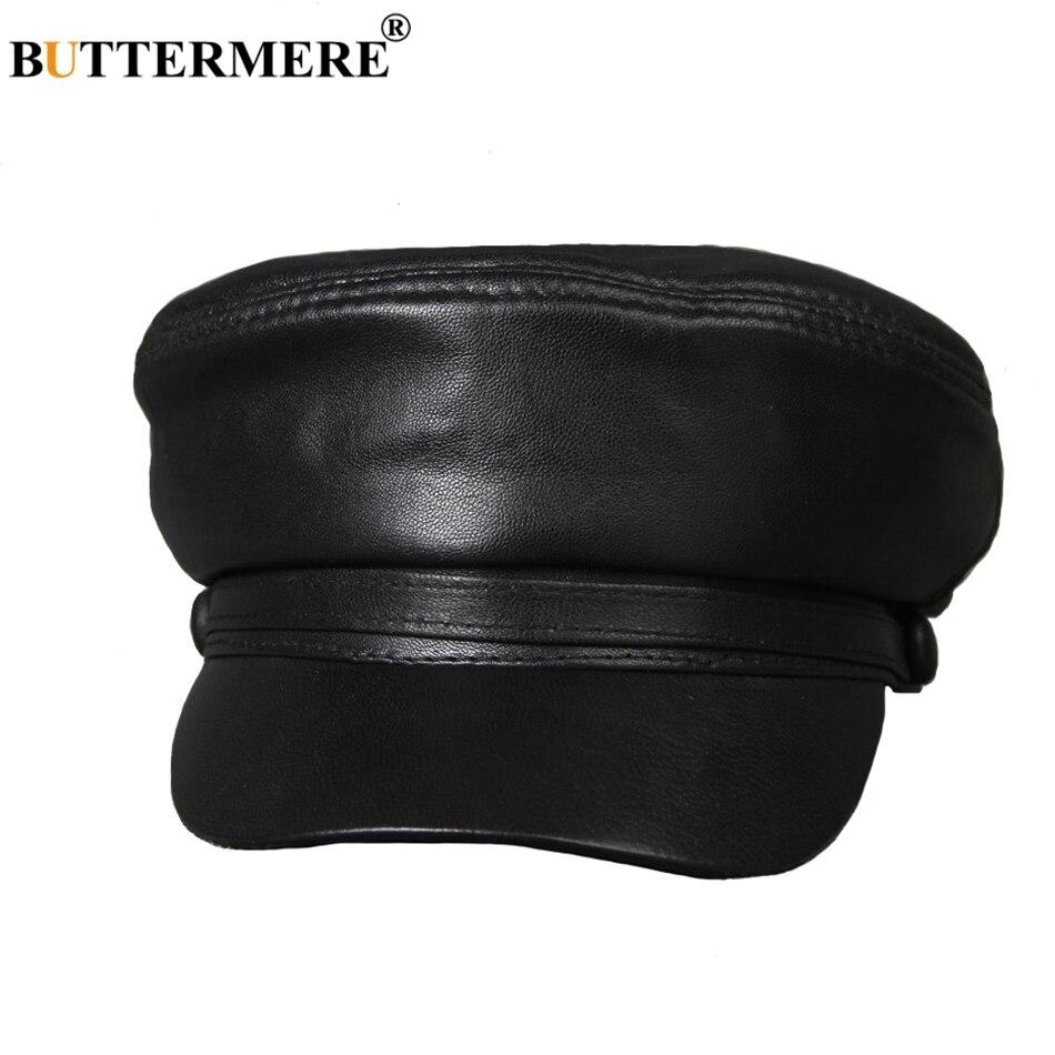 Características  gorras militares de cuero para hombres gorras casuales  planas sombreros militares de Otoño Invierno fdc4ab1983a