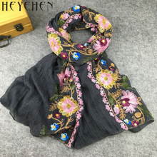 Japanese Ethnic Style Floral Embroidered Scarves and Shawls for Women Muslim Hijab Bandana and Pashmina for Ladies HY06