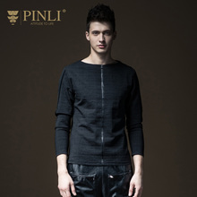 Pinli Rushed Fashion Full Solid O-neck Bamboo Fiber Products 2017 Autumn New Men's T-shirt, Long Sleeved Clothes B173211252(China)