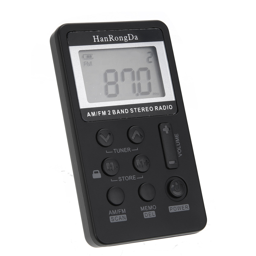 Pohiks 1set Mini Radio Receiver High Quality FM/AM 2 Band Stereo Pocket Radio Receiver LCD Display With Earphone