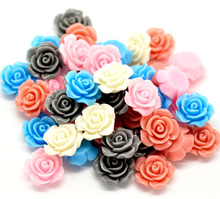 "Hot Sale 100PCs Mixed Resin Flower Embellishments Jewelry Making Findings 14x6mm(1/2""x1/4"") DIY Accessories"