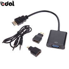 EDAL 1 Sets Micro Mini HDMI To VGA Adapter Adaptor HDMI To VGA Converter Male To Female HDMI Cable With Audio Cord