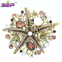Starfish Brooches Imitation Pearls Rhinestone Crystals Broach Pins for Women Jewelry Pageant Accesssories Birthday Gifts 6412