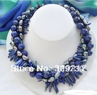 "Jewelry 0012224 4row 18"" black rice pearl blue lapis lazuli necklace"