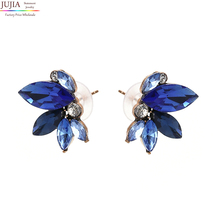 8 colors JUJIA Good quality simple small wing Symmetric crystal earrings fashion women statement stud earrings jewelry
