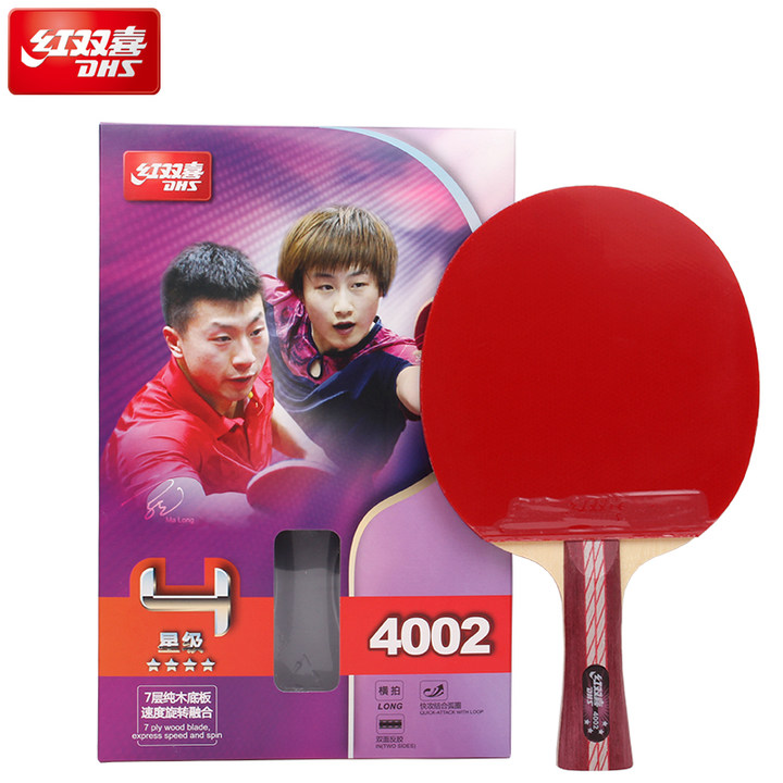 DHS 4-Star Table Tennis Racket (4002, 4006) with Rubber (Hurricane 3, pips-in) Set Ping Pong Bat Pimples In<br>