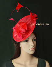 NEW 10 colours Red Big Sinamay Feather Fascinator for Wedding,Races Kentucky Derby Melbourne cup.(China)