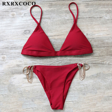 Buy RXRXCOCO Brand Bikinis Women Set Sexy Chain Design Swimwear Woman Swimming Suit Push Brazilian Bikini Solid Swimsuits 2018