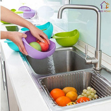 Plastic Kitchen Tools Storage Boxes Plastic Strainer Salad Bowls (MH-1174)