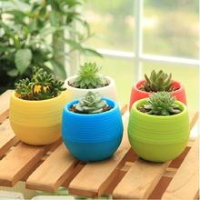 1Pc 7*6.5CM Cute Round Home Garden Office Decor Planter Plastic Plant Flower Pot