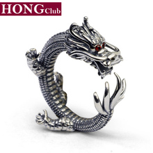 HONGCLUB New Fashion 100% Real 925 Sterling Silver Ring Dragon Ladies Engagement Thumb Ring Men Jewelry Wholesale GR40