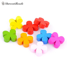 DoreenBeads Hot Sale Jewelry Wood Spacer Beads Flower Mixed At Random for DIY About 13.0mm x 13.0mm, Hole: 2.0mm, 20 PCs