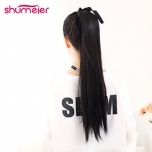 Shumeier 45cm/60cm/75cm Long Straight Clip In Synthetic Hair Ponytail With Rabbon Black Brown Hairpiece