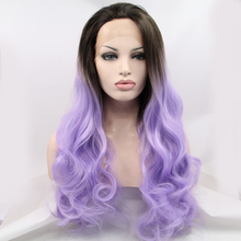 ombre lavender color brazilian body wave synthetic lace front wigs purple hair wig for black women long wavy wig free shipping