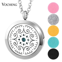 30mm Perfume Diffuser Locket Necklace Christmas 316L Stainless Steel Magnetic Randomly Send 5pcs Oil Pads as Gift VA-783(China)