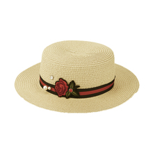 2017 Summer Women Straw Sunhat Cute Flower Knitting Beads Wide Brimmed Hat Flat Beach Sunhat Chapeu Feminino