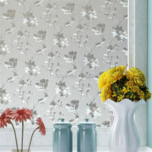 60*100cm Opaque Privacy Static Cling Glass Window Film Home Decor Window Sticker Hibiscus Office Bathroom Bedroom HQ80(China)