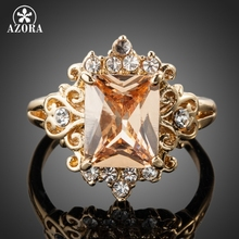 AZORA Fancy Brand Design Gold Color Stellux Austrian Crystal Ring TR0086