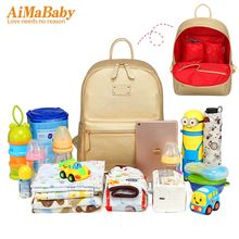 AIMABABY 2017 NEW PU designer baby diaper nappy changing mummy Maternity bag Organizer Bags for mom backpack bolsa maternidade(China)