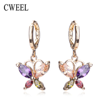 CWEEL Party Imitated Crystal Stud Earrings For Teen Girls Gold Color Women Wedding Bridal Holiday Fashion Earring Accessories(China)