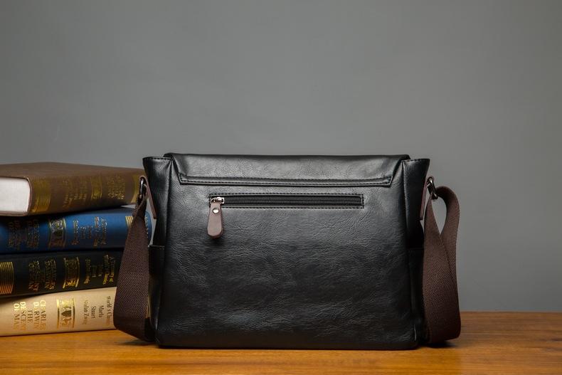 MJ Men\`s Bags Vintage PU Leather Male Messenger Bag High Quality Leather Crossbody Flap Bag Versatile Shoulder Handbag for Men (14)