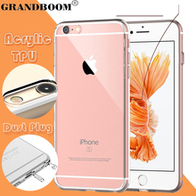 GRANDBOOM Slim Transparent Clear Acrylic Soft TPU Shockproof Hard Case Cover Skin for iPhone 7 Plus 6 6S 5 5S With Dust Plug