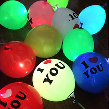 5PCS 12 inch LED Balloon Glow In Dark Sky I LOVE YOU Light Balloons Flashing Wedding Birthday Party Supplies Decoration