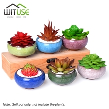 WITUSE 6x Cute Ice Crack Glazed Maceta Ceramica Small Flower Pot Succulent Plant Pot Home Outdoor Garden Flower Planter Vases(China)