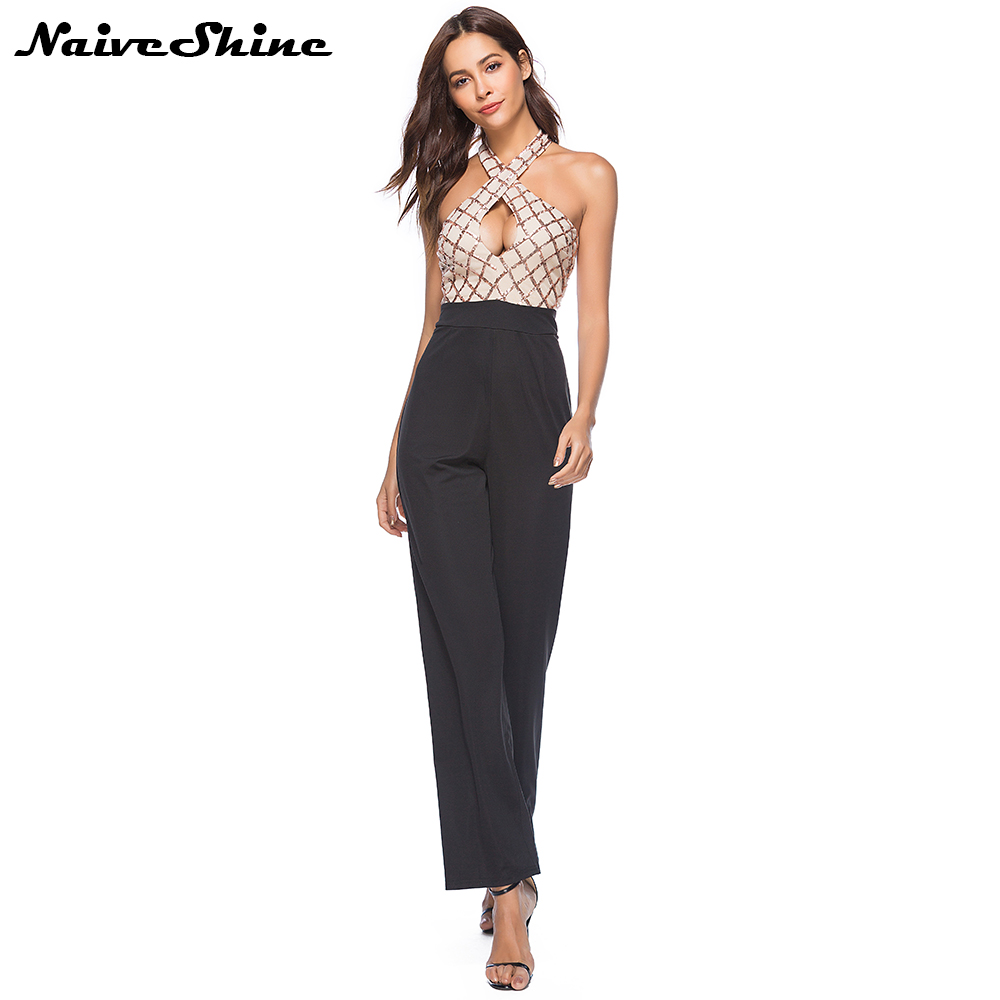 Naive Shine Elegant Halter Shoulder Sequin Jumpsuits Women's Summer Sleeveless Long Rompers Playsuits Sexy Backless Overalls