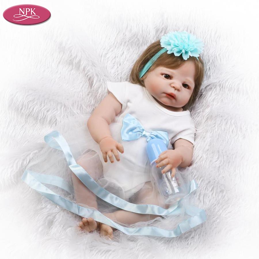 NPK 57CM Full SIlicone Vinyl Body Reborn Babies Children Bathe Doll Toys Lifelike Real Baby Girl Realista Bebe Reborn Bonecas (2)