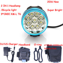 New Led Headlamp Bike Light 9 *  XM-L T6 3 Modes 15000LM Front Bicycle Light Super Power with 6*18650 Battery Pack & Charger