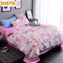 SMAVIA Cartoon Bedding Sets 3/4pc Dye Printing Bed Sets Queen King Size Home Hotel Bed Linen Bed Sheet Duvet Cover Sets For Girl