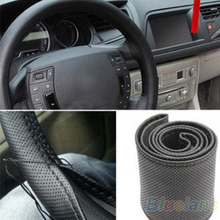 Unusual New Leather DIY Car Steering Wheel Cover With Needles and Thread 3 Color Choose  91HW