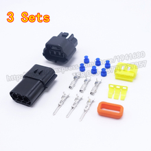 3 Sets New AMP Connector 1.8 Series Three Pins Way Male Female Auto Connector Plugs Waterproof Wholesale 174357-2 368523-1(China)