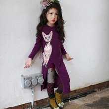 girl spring dress 2017  cartoon kitten pattern long sleeve dress slit dress long section Free shipping